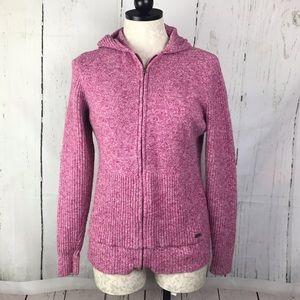 Columbia Hooded Zip Up Cardigan Sweater Pink